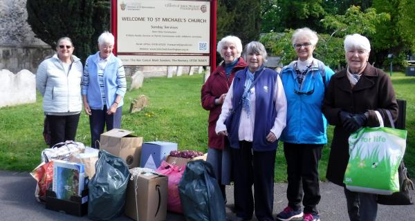 The St Michael's Knitters and Stitchers Group on a recent outing to the Seafarers Mission at Felixstowe to deliver knitted hats and scarves plus other goodies for the Seafarers when they come ashore.