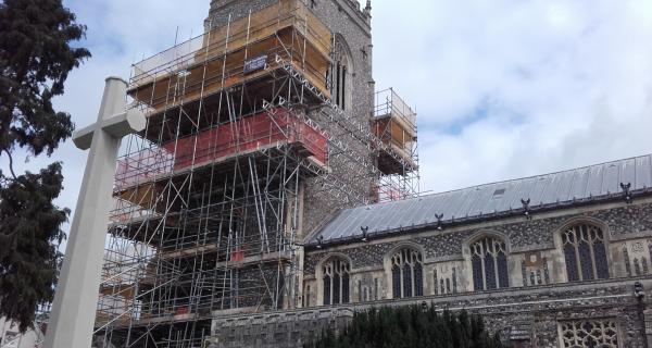 Repair work has begun on the Tower at St Michael's