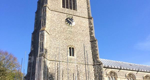 Tower Restoration - The scaffold has been taken down and the new stone work revealled in the autumn sunshine